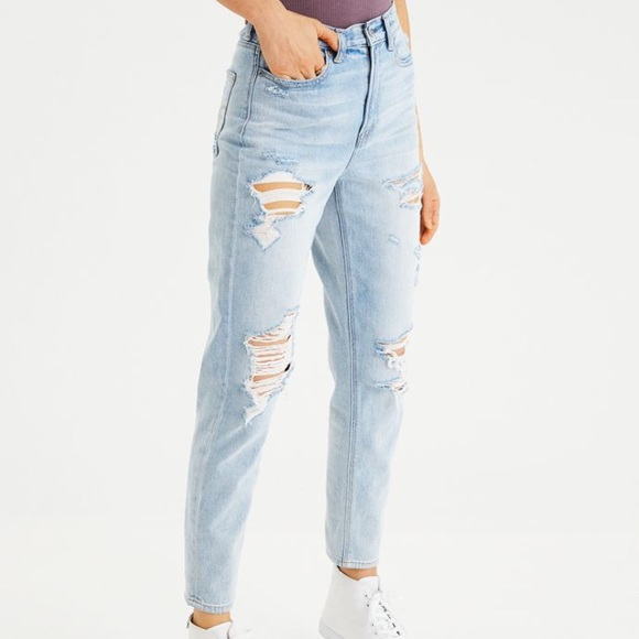 ebaaac0e1a9 Plus Size AEO Light Wash Distressed Mom Jeans